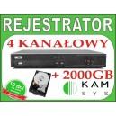 Rejestrator DVR BCS 0404 LF-A + dysk 2000 GB