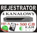 Rejestrator DVR BCS 0404 HF-A + dysk 500 GB