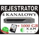 Rejestrator DVR BCS 0402Q + dysk 1000GB 100kl/s D1