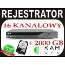 REJESTRATOR BCS 1602Q + dysk 2000GB 400kl/s w D1