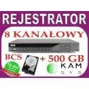 Rejestrator DVR BCS 0801M + dysk 500 GB