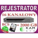 Rejestrator DVR BCS 1601S + dysk 2000 GB