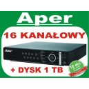 Rejestrator Aper PDR-XM3016 z dyskiem 1 TB